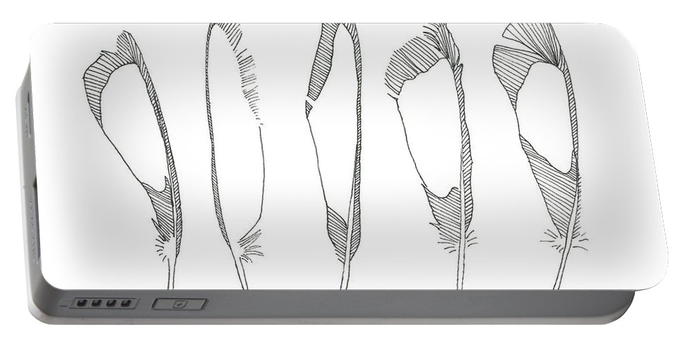 Portable Battery Charger featuring the drawing Five Feathers by Melissa Burke