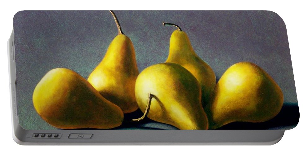 Still Life Portable Battery Charger featuring the painting Five Golden Pears by Frank Wilson