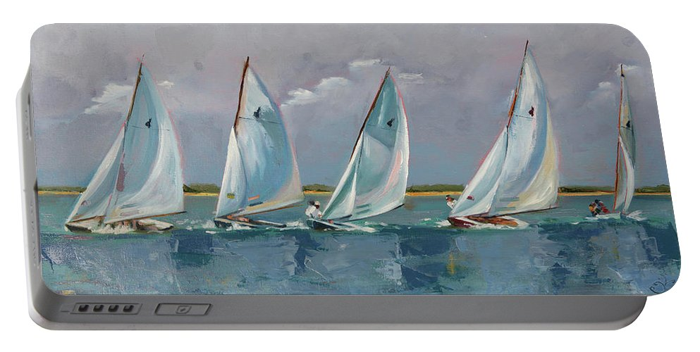 Sailboat Portable Battery Charger featuring the painting Five Indian March by Trina Teele