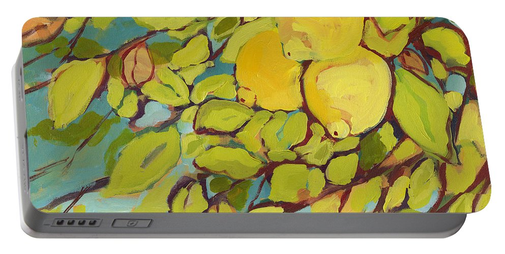 Lemon Portable Battery Charger featuring the painting Five Lemons by Jennifer Lommers