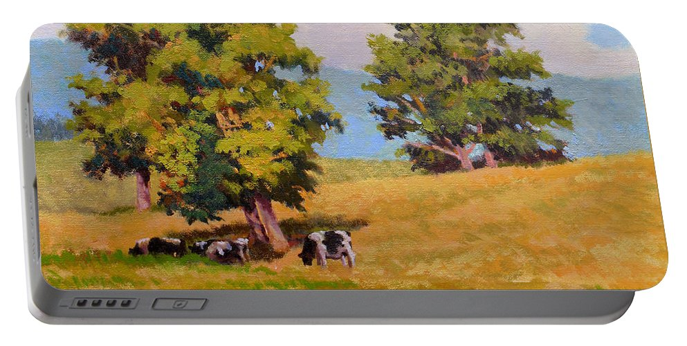 Landscape Portable Battery Charger featuring the painting Five Oaks by Keith Burgess