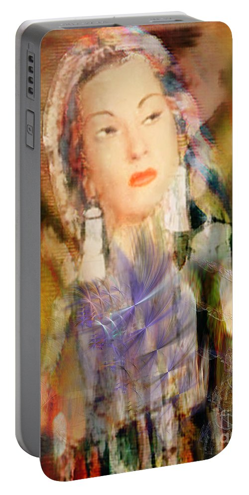 Portable Battery Charger featuring the digital art Five Octaves - Tribute To Yma Sumac by John Beck