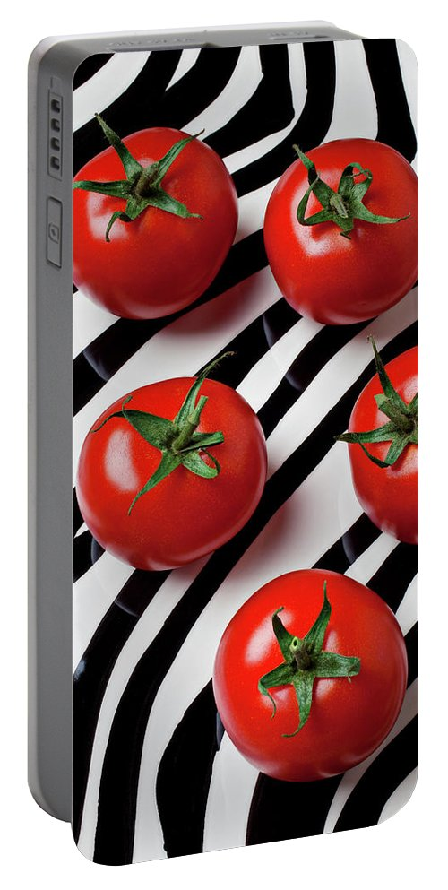 Tomato Portable Battery Charger featuring the photograph Five Tomatoes by Garry Gay