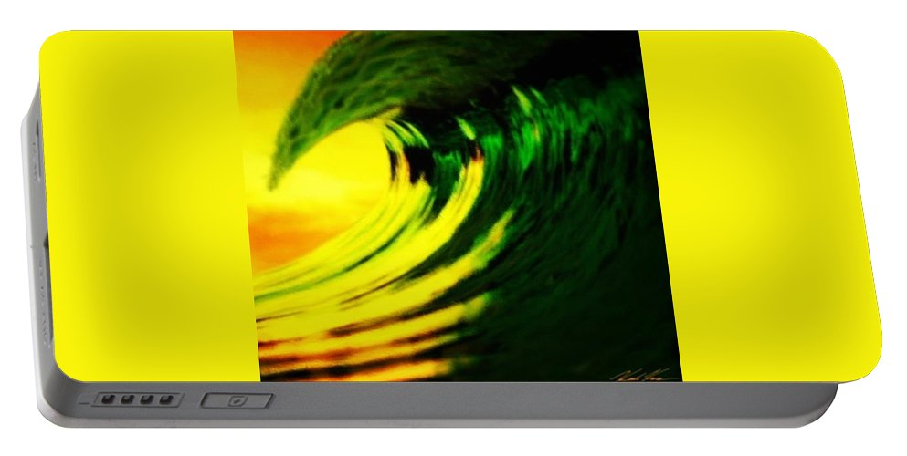 Surf Portable Battery Charger featuring the digital art Fl O J by Keith Kos