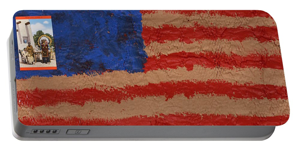 Flag Portable Battery Charger featuring the mixed media Flag 2 by Jaime Becker