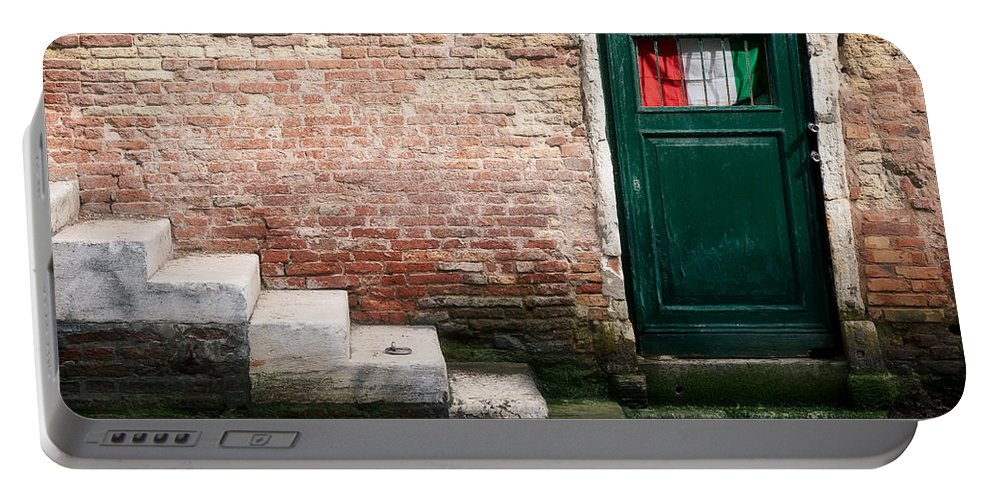 Venice Portable Battery Charger featuring the photograph Flag by Dave Bowman