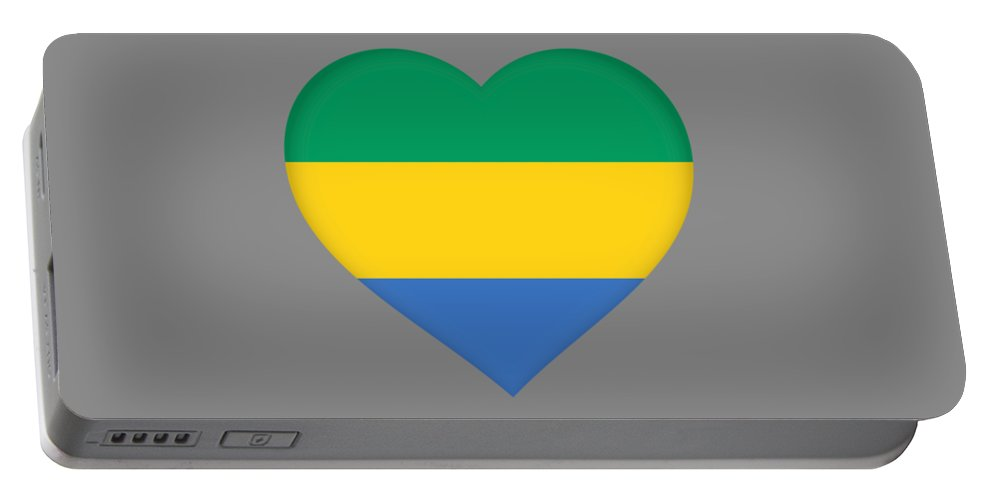 Africa Portable Battery Charger featuring the digital art Flag Of Gabon Heart by Roy Pedersen