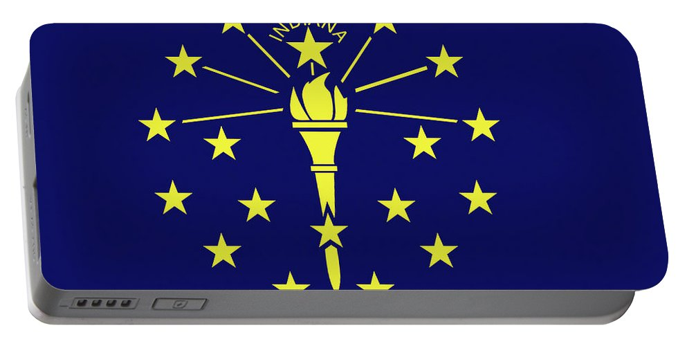 America Portable Battery Charger featuring the digital art Flag Of Indiana by Roy Pedersen