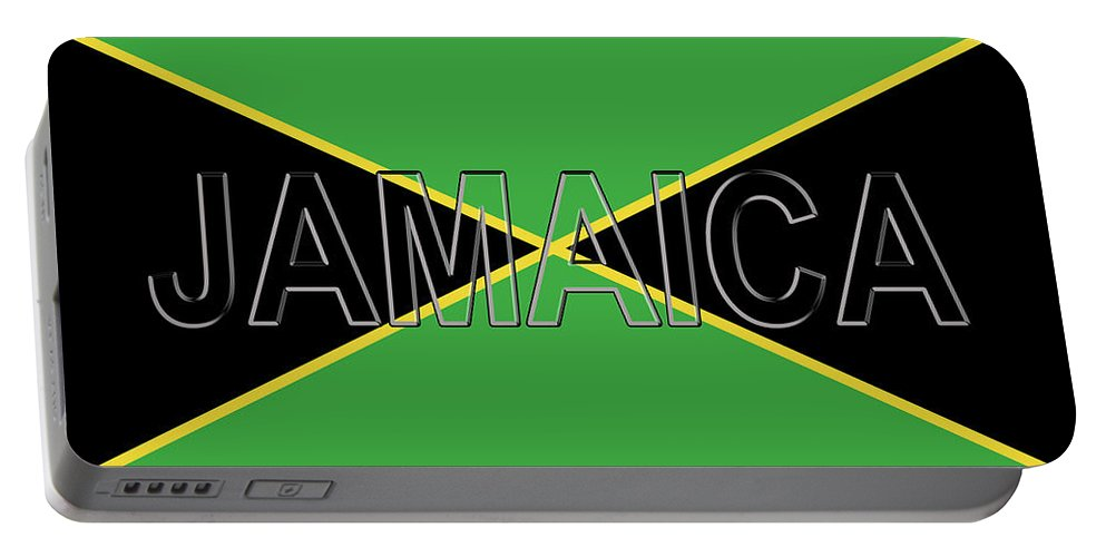 Caribbean Portable Battery Charger featuring the digital art Flag Of Jamaica Word by Roy Pedersen