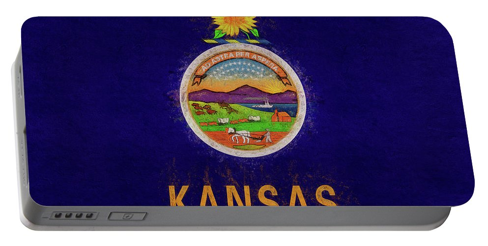 America Portable Battery Charger featuring the digital art Flag Of Kansas Grunge by Roy Pedersen
