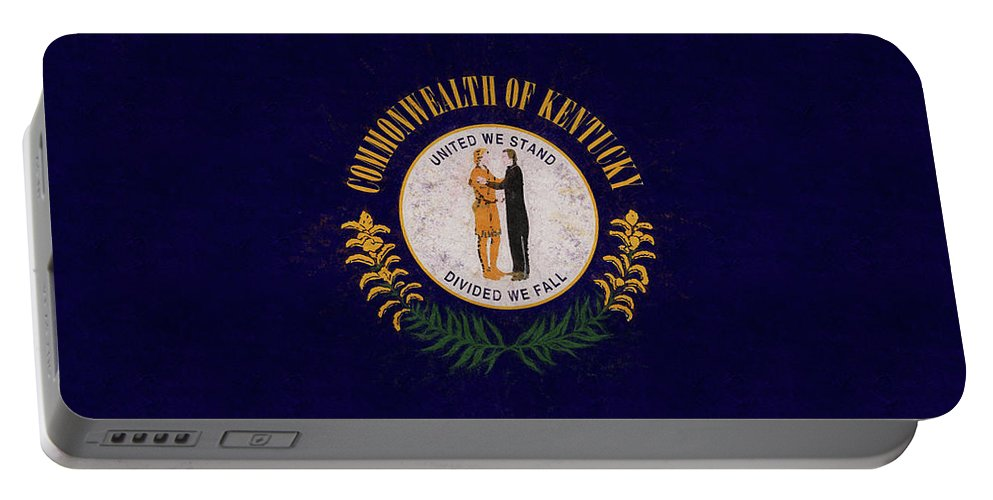 America Portable Battery Charger featuring the digital art Flag Of Kentucky Grunge by Roy Pedersen