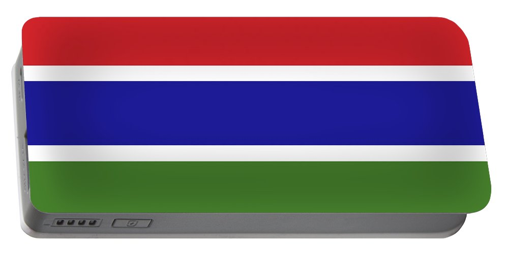 Africa Portable Battery Charger featuring the digital art Flag Of The Gambia by Roy Pedersen