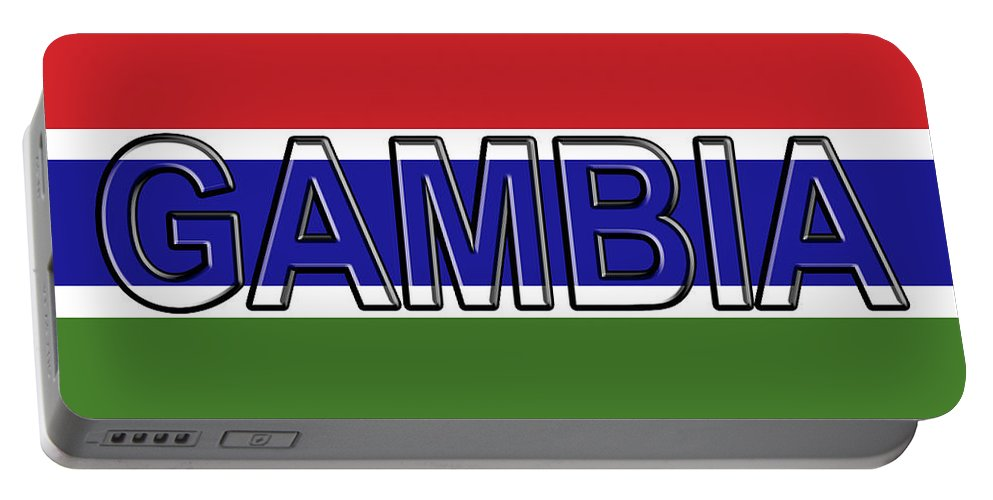 Africa Portable Battery Charger featuring the digital art Flag Of The Gambia Word. by Roy Pedersen