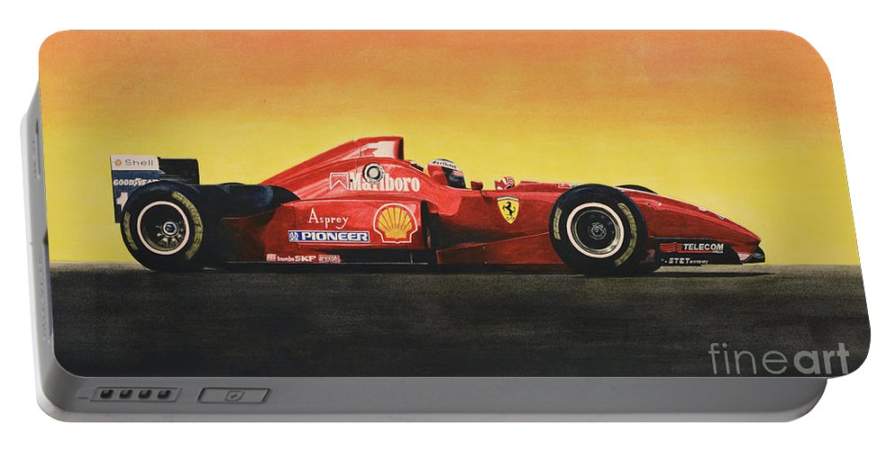 Formula One Portable Battery Charger featuring the painting Flag by Oleg Konin