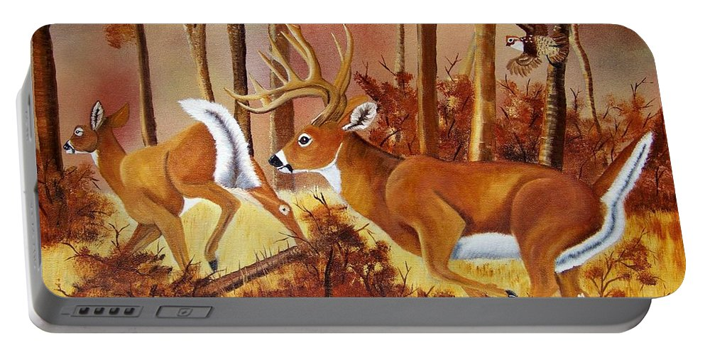 Deer Portable Battery Charger featuring the painting Flagging Deer by Debbie LaFrance