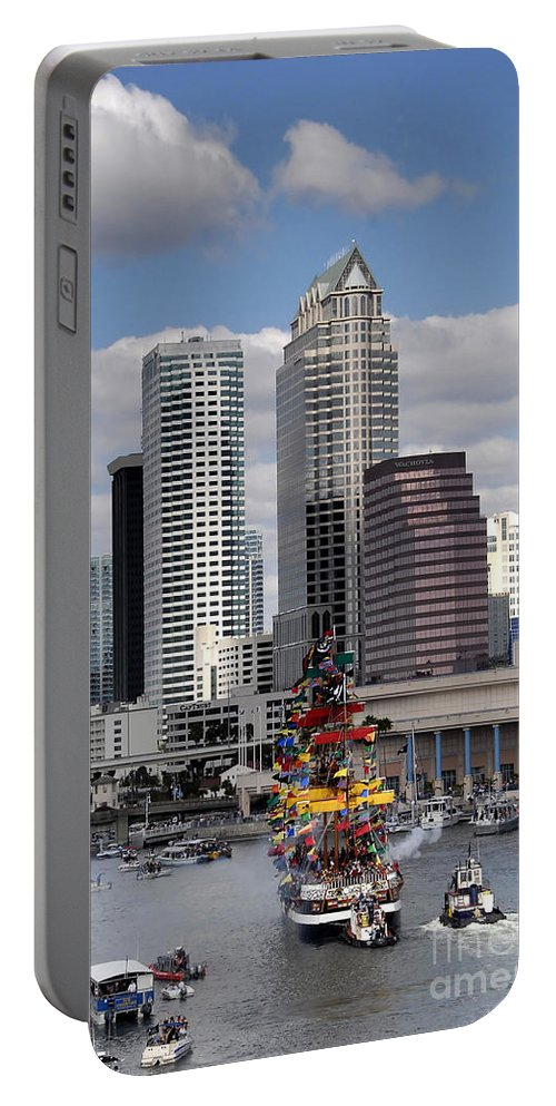 Photography Portable Battery Charger featuring the photograph Flags Of Gasparilla by David Lee Thompson