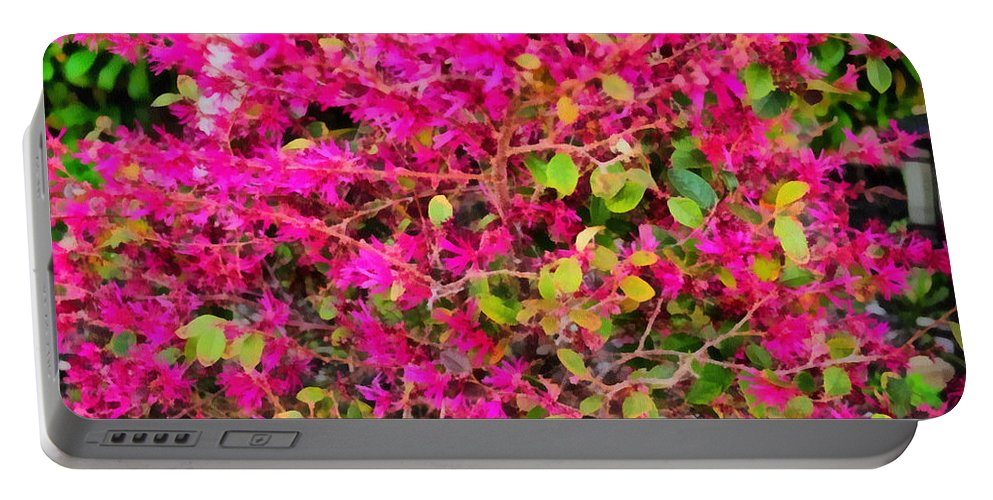Flame Portable Battery Charger featuring the painting Flame Bush by Paulette B Wright