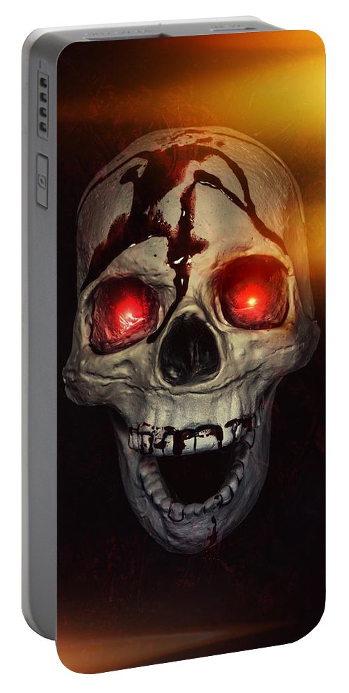 Skull Portable Battery Charger featuring the photograph Flame Eyes by Joana Kruse