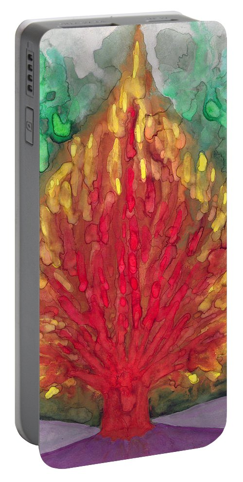 Colour Portable Battery Charger featuring the painting Flame by Wojtek Kowalski