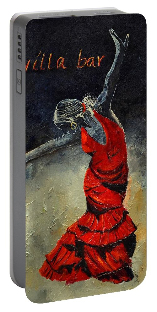 Flamenco Portable Battery Charger featuring the painting Flamenco 18 by Pol Ledent