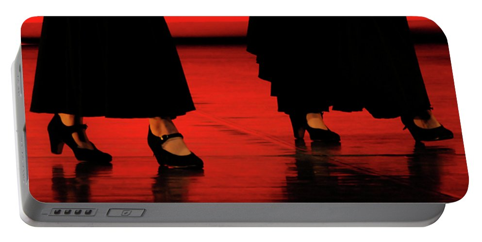 Red Portable Battery Charger featuring the photograph Flamenco 2 by Pedro Cardona Llambias