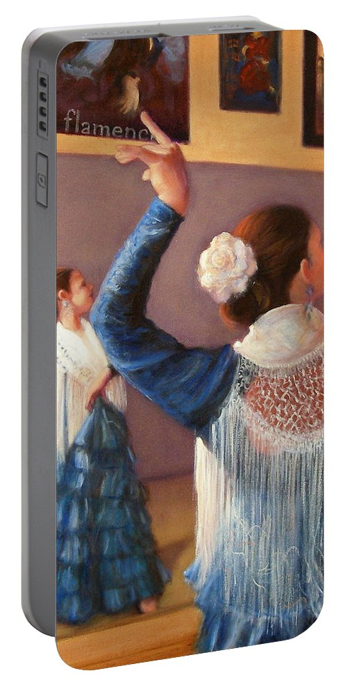 Realism Portable Battery Charger featuring the painting Flamenco 7 by Donelli DiMaria