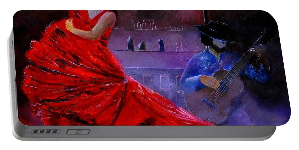 Flamenco Portable Battery Charger featuring the painting Flamenco 88 by Pol Ledent