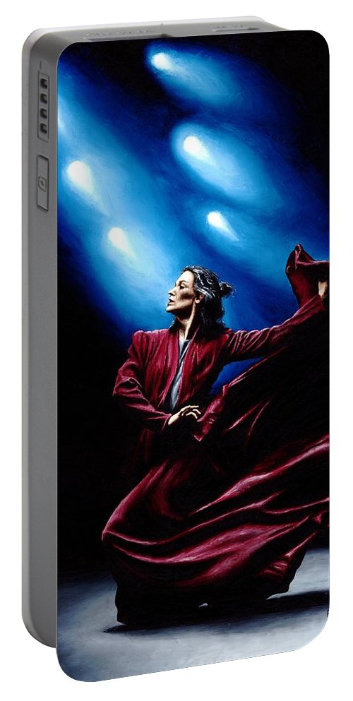 Original Oil Painting Produced On Stretched 91cm X 61cm Canvas Using A Knife Portable Battery Charger featuring the painting Flamenco Performance by Richard Young