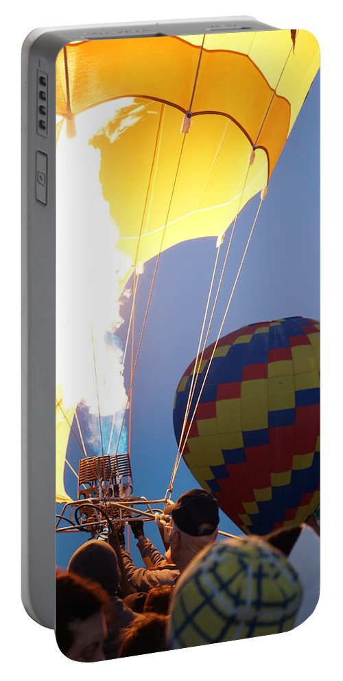 Hot Air Ballon Portable Battery Charger featuring the photograph Flames by Brooke Bowdren