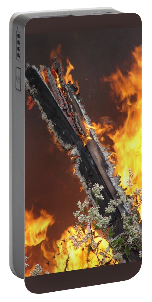 Fire Wood Flames Flowers Portable Battery Charger featuring the photograph Flames Of Age by Luciana Seymour