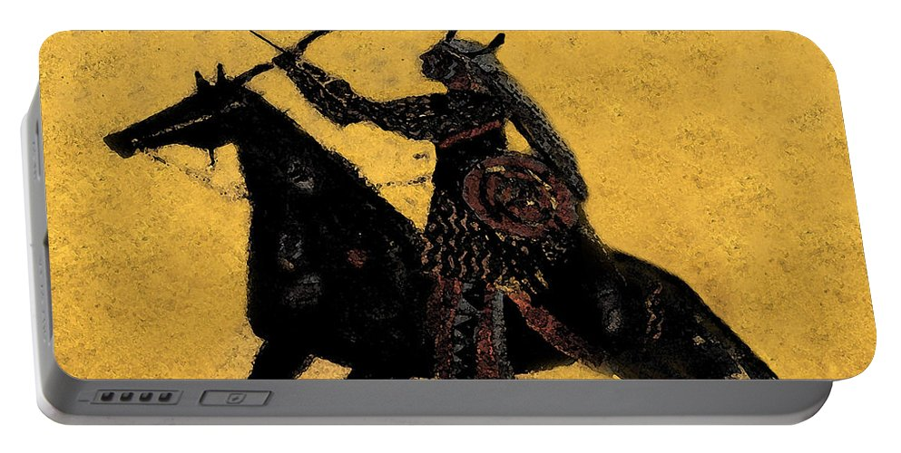 Flaming Arrow Portable Battery Charger featuring the painting Flaming Arrow by David Lee Thompson