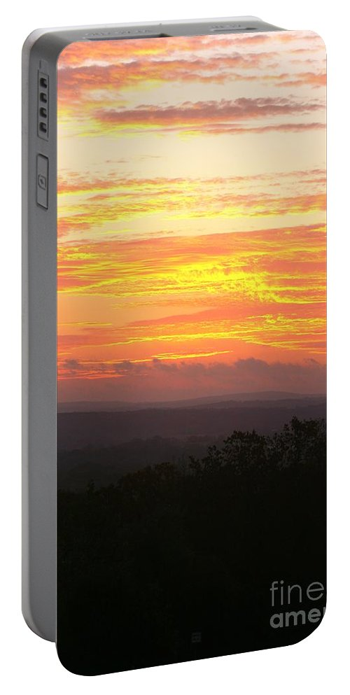 Sunrise Portable Battery Charger featuring the photograph Flaming Autumn Sunrise by Nadine Rippelmeyer