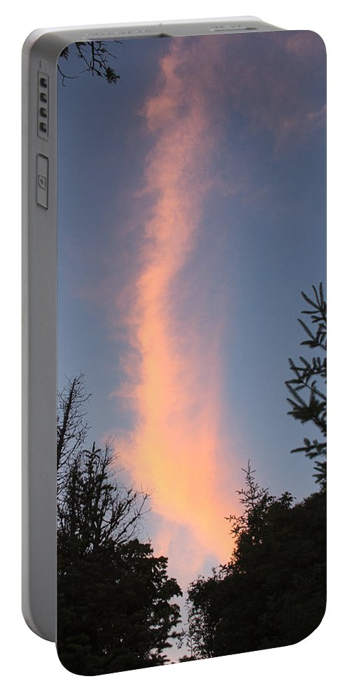 Cloud Portable Battery Charger featuring the photograph Flaming Clouds by Timothy Ruf