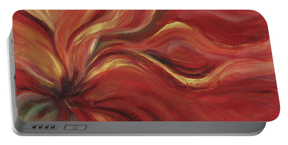 Red Portable Battery Charger featuring the painting Flaming Flower by Nadine Rippelmeyer