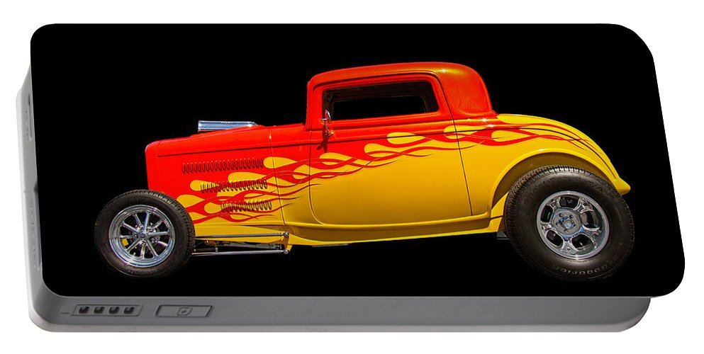 Roadster Portable Battery Charger featuring the photograph Flaming Hot Rod by Nick Gray