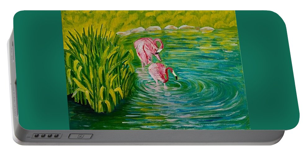 Flamingo Acrylic On Canvas Painting Water Grass Zoo Pink Flamingo Blue Water Portable Battery Charger featuring the painting Flamingo by Elena Pronina