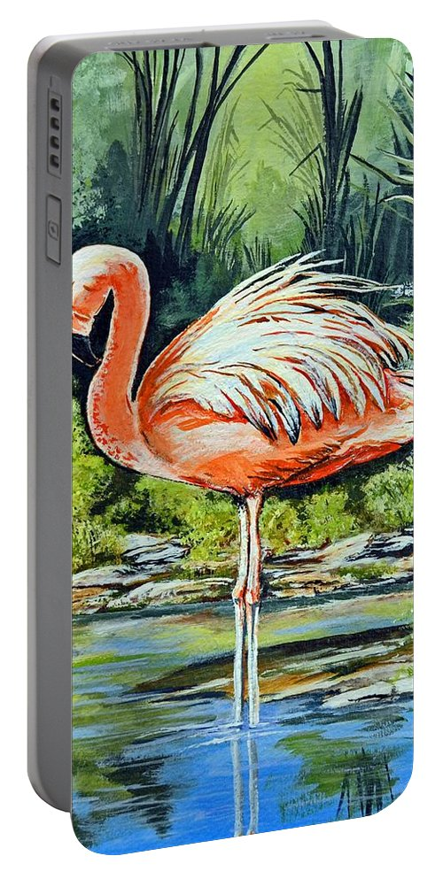 Flamingo Portable Battery Charger featuring the painting Flamingo by Stephen Broussard
