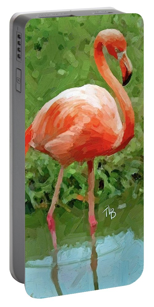 Flamingo Portable Battery Charger featuring the painting Flamingo by Tammy Lee Bradley