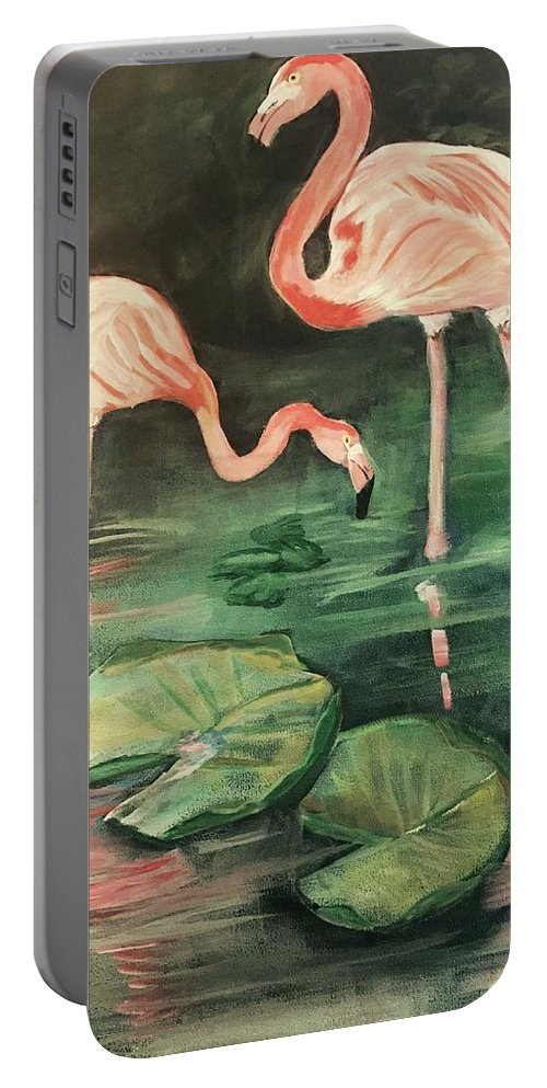 Flamingos Portable Battery Charger featuring the painting Flamingos by Janet Easley