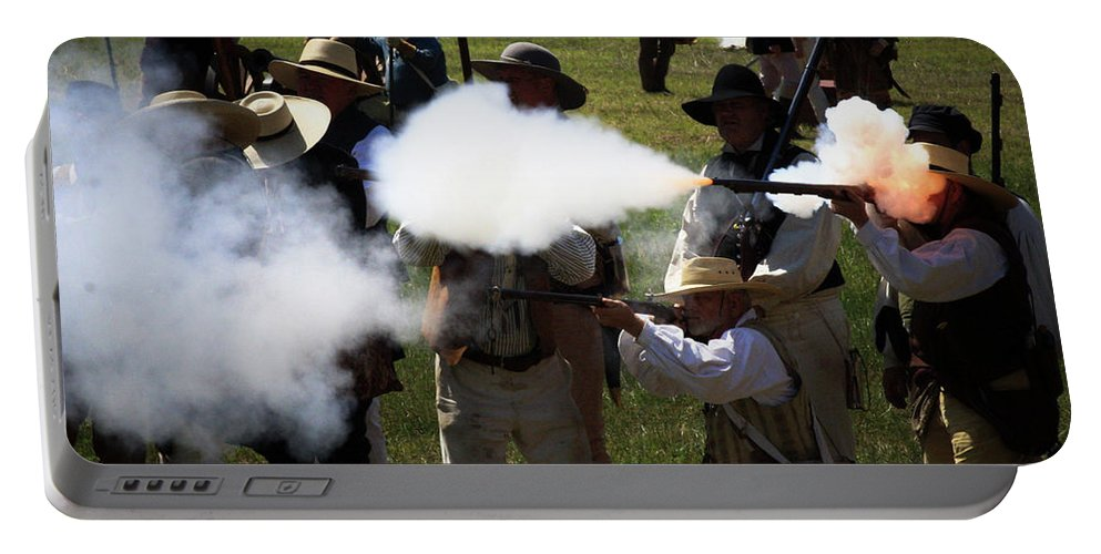 Re-enactment Portable Battery Charger featuring the photograph Flash Fire by Kim Henderson
