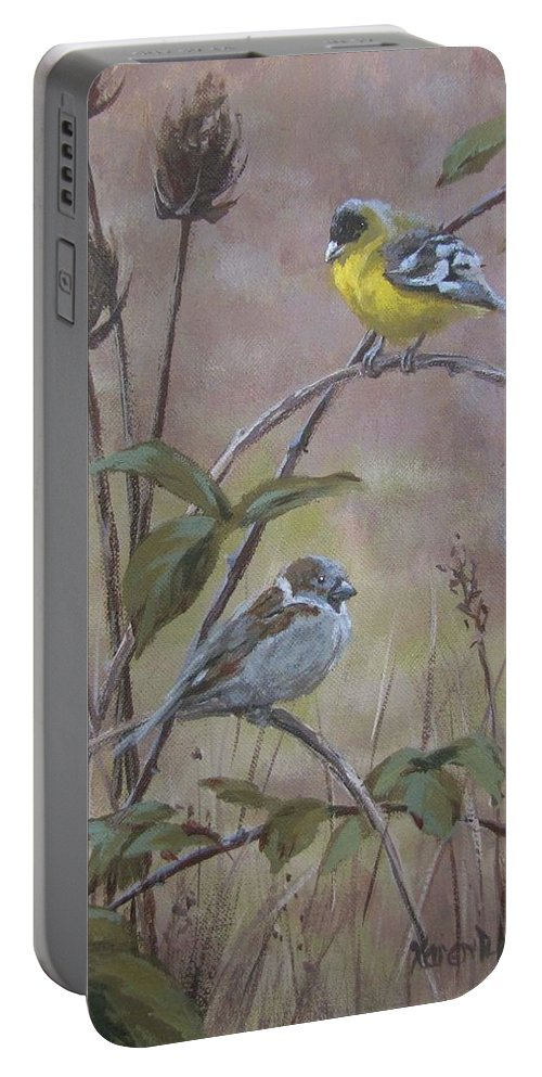 Birds Portable Battery Charger featuring the painting Flashy Friend by Karen Ilari