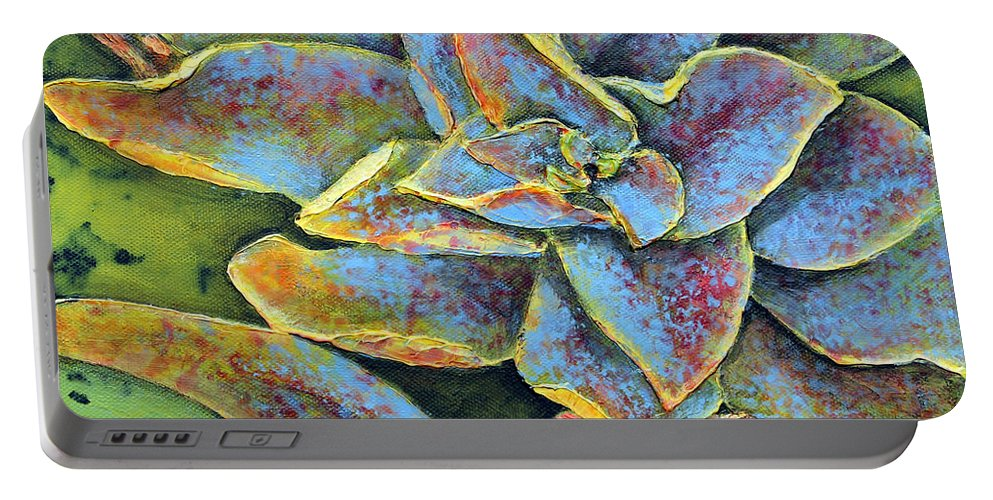 Succulent Portable Battery Charger featuring the painting Flashy Succulent by Patricia Pasbrig