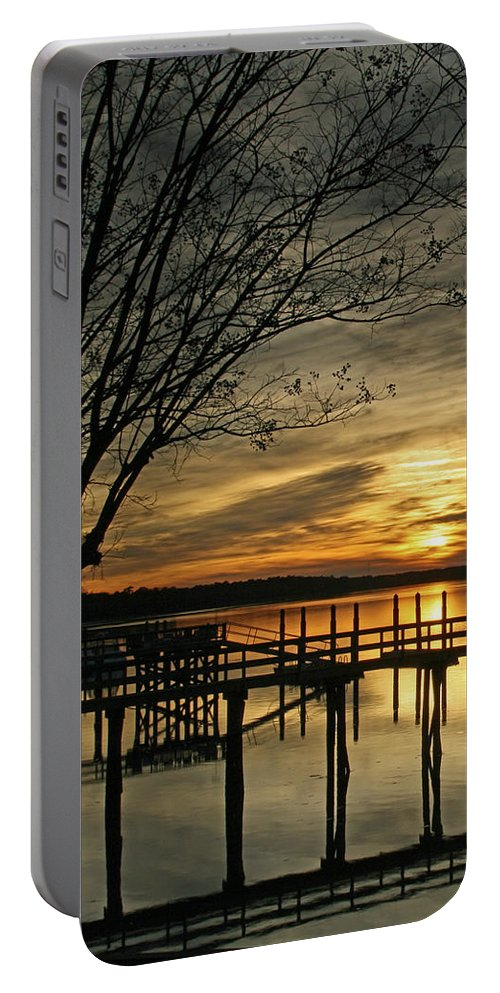 Sunset Portable Battery Charger featuring the photograph Flat Water by Phill Doherty