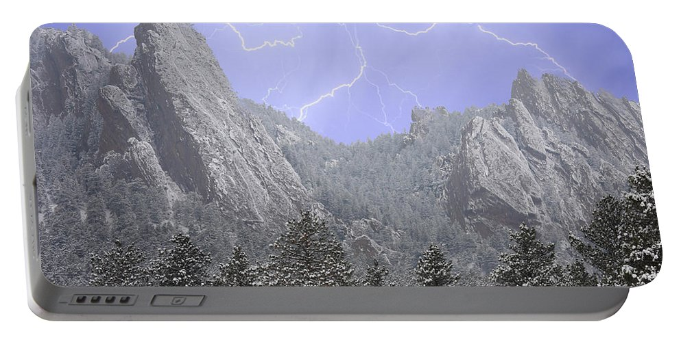 Flatirons Portable Battery Charger featuring the photograph Flatirons Lightning by James BO Insogna