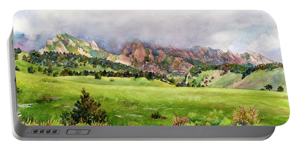 Flatirons Painting Portable Battery Charger featuring the painting Flatirons Vista by Anne Gifford