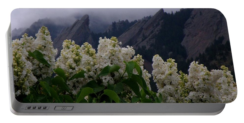 Flatirons Boulder Colorado Lilacs Flowers Spring Landscapes Misty Spring Portable Battery Charger featuring the photograph Flatirons White Lilacs by George Tuffy