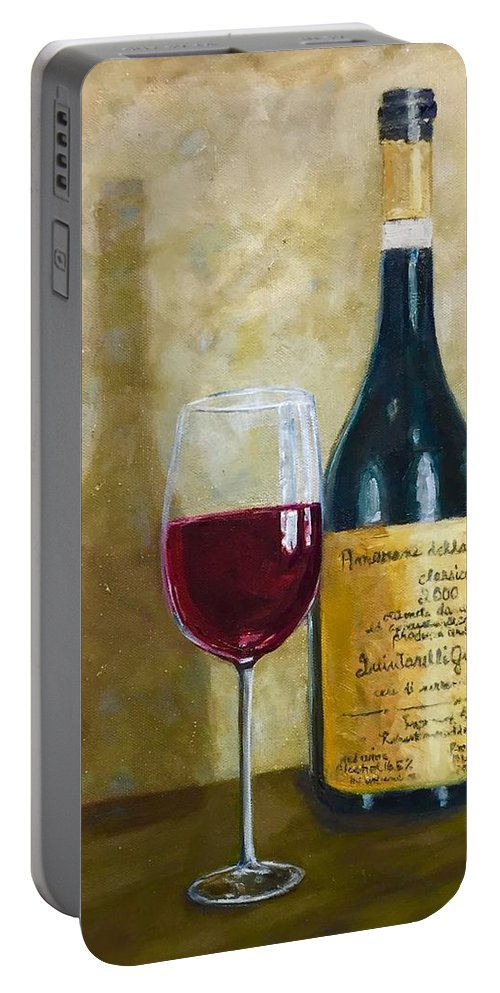 Wine Portable Battery Charger featuring the painting Flawless Red Original Wine Painting by Beth Capogrossi