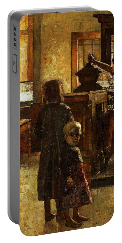 German Art Portable Battery Charger featuring the painting Flemish Tavern by Lesser Ury
