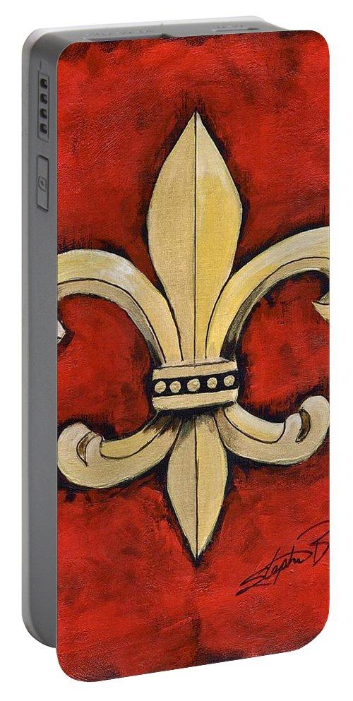 Fleur De Lies Portable Battery Charger featuring the painting Fleur De Lies Red Background by Stephen Broussard