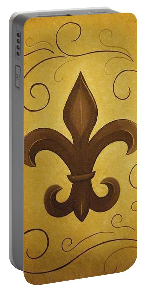 Fleur De Lis Portable Battery Charger featuring the painting Fleur De Lis by Valerie Carpenter